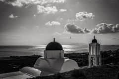 Santorini in bianco e nero fotografie stock