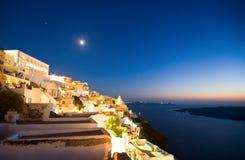 Santorini bis zum Nacht Stockfotografie