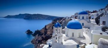Santorini blått Royaltyfria Bilder