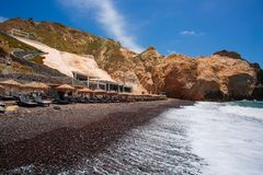 Santorini - The Black beach from south part of the island royalty free stock images