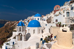 Santorini blue cupola church Royalty Free Stock Photography