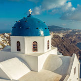 Santorini blue dome church close up view Royalty Free Stock Images