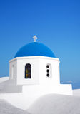 Santorini Blue dome church. Greece. Stock Photos
