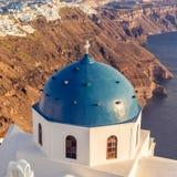 Santorini blue dome church high angle view Stock Photos