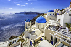 Santorini blue dome churches, Greece Royalty Free Stock Image