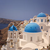 Santorini blue domes Royalty Free Stock Photos