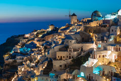 Santorini during Blue Hour. Santorini lighting up just after the sun went down Royalty Free Stock Images