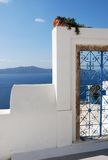 Santorini Blue Iron Gate Royalty Free Stock Photography