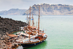 Santorini boats vulcano landscape Royalty Free Stock Photos