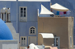 Santorini buildings. A view of colorful and attractive building exteriors in the town of Oia on the Greek island of Santorini Stock Photos