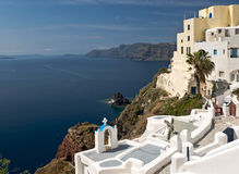 Santorini buildings and the dog Royalty Free Stock Image