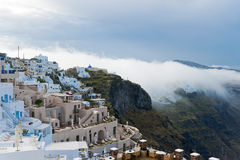 Santorini buildings in the fog Stock Images
