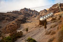 The Santorini cable car connects the port with the town of Thera in Santorini island, Greece stock photography