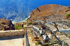 Santorini cable car. The Santorini cable car connects the port with the town of Thera in Santorini island in Greece-the capital of Santorini.Picture taken on Stock Image