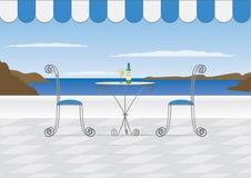 Santorini Cafe Stock Photo