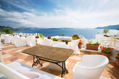 Santorini cafe royalty free stock photography