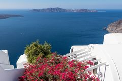 Santorini caldera in Greece from the coast. View of Santorini caldera in Greece from the coast royalty free stock photo