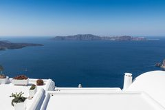 Santorini caldera in Greece from the coast. View of Santorini caldera in Greece from the coast royalty free stock photos