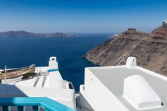 Santorini caldera in Greece from the coast. View of Santorini caldera in Greece from the coast stock images