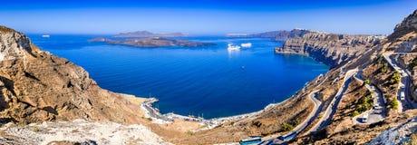 Santorini Caldera i Cyclades, Grekland arkivfoto