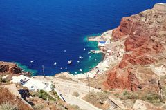 Santorini caldera och hav, Grekland arkivbilder