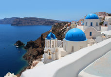Santorini caldera view church Stock Images