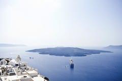 Santorini Caldera View. And a cruise ship Royalty Free Stock Photo