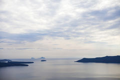 Santorini Caldera View. From imerovigli in the morning stock photos