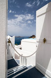 Santorini Caldera view trough the open door Stock Photos