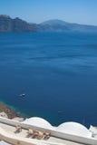 Santorini Caldera. View at the caldera of the Santorini volcano from the hotel terace Stock Photography