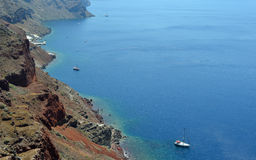 Santorini Caldera and Volcanic Rim Royalty Free Stock Images