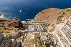 Santorini chair lift Stock Photos