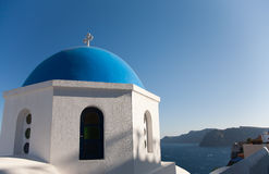 Santorini chapel. Orthodox temple in Oia, Santorini, Greece at daytime with blue sky stock images