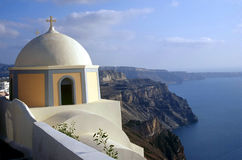 Santorini Chapel. A cliffside chapel in Santorini, Greece royalty free stock images