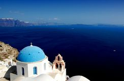 Santorini Church. Oya church in Santorini, Greece, with volcano view Royalty Free Stock Photography