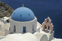 Santorini Church. Church in santorini, with blue dome and bell tower Stock Photos