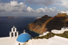 Santorini church and bell tower Royalty Free Stock Photos