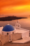 Santorini Church in Fira against sunset,Greece Stock Images