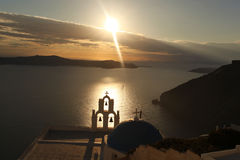 Santorini with Church in Fira, Greece Royalty Free Stock Image