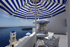 Santorini Church in Fira with sea-view,Greece Royalty Free Stock Photo