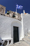 Santorini with church in Greece Stock Photos