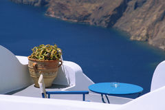 Terace with scenic view in Santorini. Greece royalty free stock images