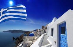 Santorini with Church in Oia, Greece Royalty Free Stock Image