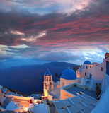 Santorini with Church in Oia, Greece Stock Photography