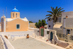 Santorini church in Oia. And the land arround royalty free stock photography