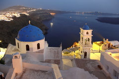 Santorini Churches in Fira, Greece Royalty Free Stock Images