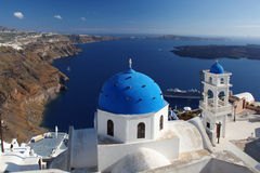 Santorini Churches in Fira, Greece Royalty Free Stock Photo
