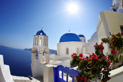 Santorini Churches in Oia, Greece Royalty Free Stock Image