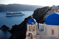 Santorini Churches in Oia, Greece Stock Images