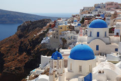 Santorini Churches in Oia, Greece Stock Photo